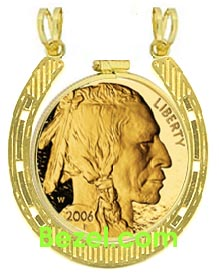 SOLID 14K GOLD ROPE COIN BEZEL for 1//4 Oz Gold American Eagle COIN NOT INCLUDED