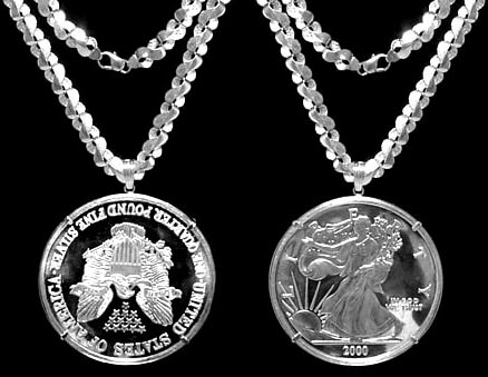 Sterling Silver Dollar Rope Bezel 38 Mm Coins G Back Diamond Cut For All